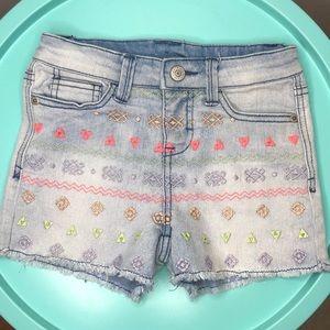 Cherokee Girl's Cutoff Embroidered Denim Shorts